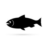 Salmon fish silhouette vector icon. On white background Stock Image