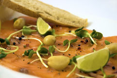 Salmon Fish. With a slice of bread and a piece of lemon Stock Photos