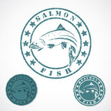 Salmon fish stamp Royalty Free Stock Images