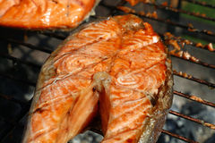 Salmon fish steak barbecue grill cooking close up. One grilled salmon fish steak barbecue meal cooking, prepared on bbq grill, close up stock images