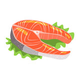 Salmon Fish Steak, Food Item Rich In Proteins, Important Element Of The Healthy Balanced Diet Vector Illustration. Product Containing Vital Nutrients Cartoon Royalty Free Stock Image