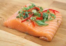 Salmon Fish Steak Preparation Royalty Free Stock Image