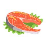 Salmon Fish Steak, produit alimentaire Rich In Proteins, élément important de l'illustration saine de vecteur d'alimentation équi Image libre de droits