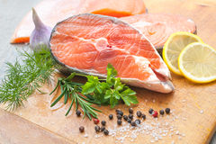 Salmon fish steaks stock photography