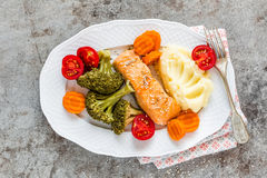 Salmon fish steamed with vegetables Royalty Free Stock Photography