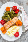 Salmon fish steamed with vegetables Stock Photo