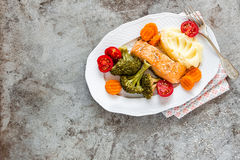 Salmon fish steamed with vegetables Stock Images