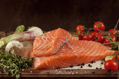 Salmon fish with vegetables and spice Royalty Free Stock Photography