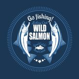 Salmon fish. Vintage Salmon Fishing emblems, labels and design elements. Vector illustration on blue. Salmon fish.Vintage Salmon Fishing emblems, labels and royalty free illustration