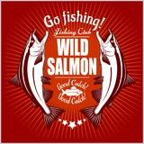 Salmon fish. Vintage Salmon Fishing emblems, labels and design elements. Vector illustration on red. Salmon fish.Vintage Salmon Fishing emblems, labels and vector illustration