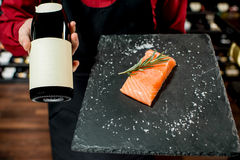 Salmon fish with wine Royalty Free Stock Image