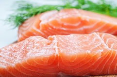 Salmon fish on woode board Royalty Free Stock Photo