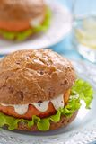 Salmon fishburger sandwich Stock Photo