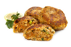 Salmon Fishcakes over White Stock Image