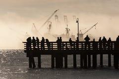 Salmon Fishermen on Elliott Bay in Seattle, Washington. Stock Image