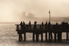 Salmon Fishermen op Elliott Bay in Seattle, Washington Stock Foto