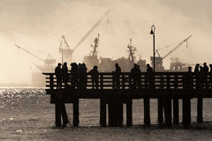 Salmon Fishermen su Elliott Bay a Seattle, Washington Immagine Stock