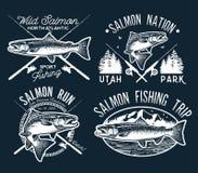 Salmon Fishing d'annata simbolizza, etichette ed elementi di progettazione Illustrazione di vettore Fotografia Stock