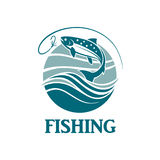 Salmon fishing emblem Royalty Free Stock Image
