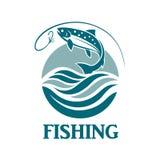 Salmon fishing emblem Royalty Free Stock Photo