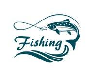 Salmon fishing emblem Royalty Free Stock Images