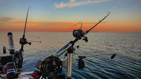Salmon Fishing Rods und Spulen stockbild