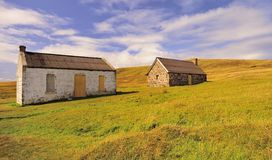 Abandoned fishing cottages, Assynt, Scotland Stock Photo