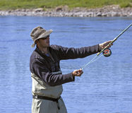Salmon fly fishing royalty free stock image