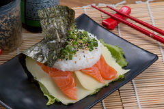 Salmon fodd japanese. Japanese food background close diner Royalty Free Stock Images