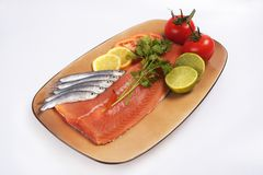 Salmon and fresh fish plate royalty free stock photos