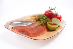 Salmon and fresh fish plate Stock Photo