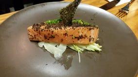 Salmon. Fresh salmon Japanese styled. With fish skin stock image
