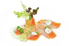 Salmon. Fresh raw salmon fish steak  on a white backgrou Stock Photos