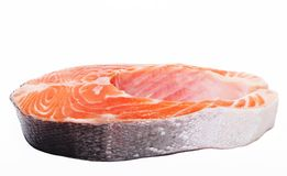 Salmon. Fresh raw salmon red fish steak. Isolated on white Stock Image