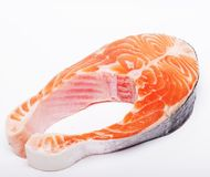 Salmon. Fresh raw salmon red fish steak. Stock Photos