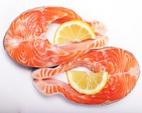 Salmon. Fresh raw salmon red fish steak. Royalty Free Stock Images