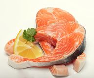 Salmon. Fresh raw salmon red fish steak. On white Stock Photo