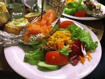 Salmon fresh salad. Healthy food , vegetable Stock Photo