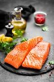 Salmon. Fresh salmon fish. Raw salmon fish fillet. On board royalty free stock photography