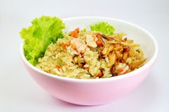 Salmon fried Japanese rice topping with fried Anchovy Royalty Free Stock Photo