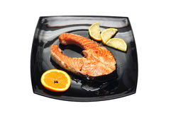 Salmon fried Stock Photo