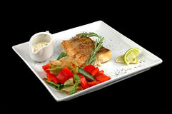 Salmon fried with spices Stock Photo