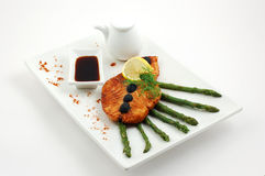 Salmon fried with spices Royalty Free Stock Photography