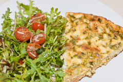 Salmon frittata with salad Royalty Free Stock Images