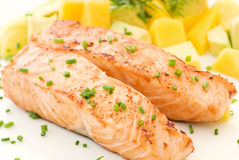 Salmon with Fruits Royalty Free Stock Image