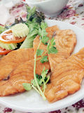 Salmon fry tamarind sauce. Royalty Free Stock Image