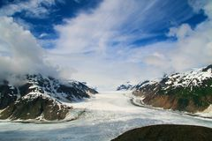 Salmon Glacier. The Salmon Glacier in Alaska under a dramatic sky Royalty Free Stock Images