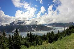 Salmon Glacier near Hyder, Alaska and Stewart, Canada, the glacier is located right on the canadian side of the booarder. In British Columbia, Canada stock photos