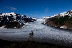 Salmon Glacier and  star trail Royalty Free Stock Photography