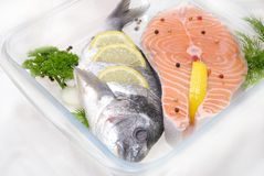 Salmon in a glass container Stock Image